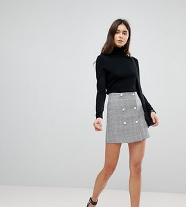 Read more about Asos tall double breasted mini skirt in check with buttons - multi