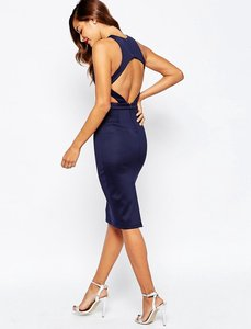 Read more about Asos cut out back bodycon midi dress - mink