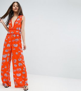 Read more about Asos tall floral wide leg beach jumpsuit - floral
