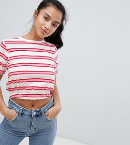Read more about Asos design petite crop t-shirt with shirred hem and cuffs in stripe - multi