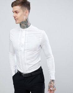 Read more about Asos design skinny fit sateen shirt with pleat detail grandad collar - white