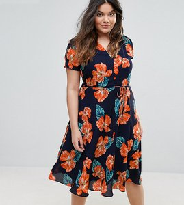 Read more about Alice you split shoulder tea dress in floral print - navy