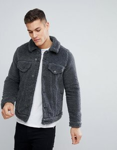 Read more about Asos design borg western jacket in grey marl - grey marl