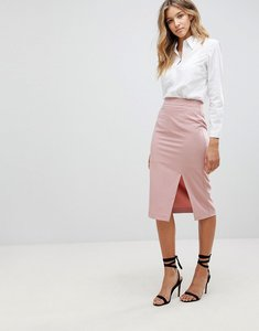 Read more about Asos mix match high waisted pencil skirt with split - nude