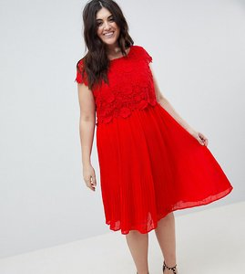 Read more about Lovedrobe crochet pleated dress - red