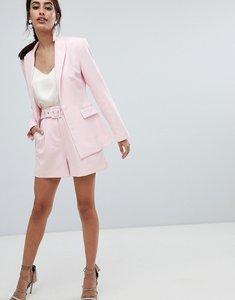 Read more about Asos design tailored shorts in pink with belt - pink