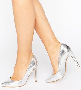 Read more about Asos playful wide fit pointed heels - silver