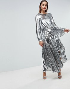 Read more about Asos edition drop waist all over sequin midi dress - silver