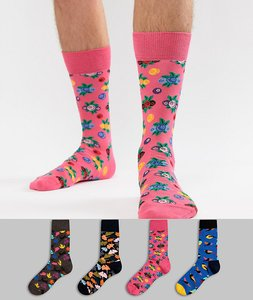 Read more about Happy socks socks 4 pack gift set with forest prints - multi