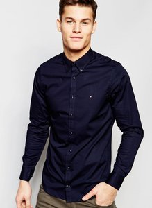 Read more about Tommy hilfiger poplin shirt with stretch in slim fit in navy - navy