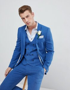 Read more about Asos wedding super skinny suit jacket in bright blue micro texture - blue