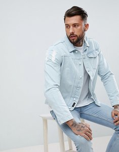 Read more about Religion lightwash denim jacket with distressing - pale blue