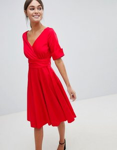 Read more about Closet wrap over midi dress - red