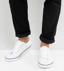 Read more about Asos wide fit lace up plimsolls in white - white