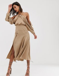 Read more about Asos edition drape sleeve midi dress with ring detail in satin