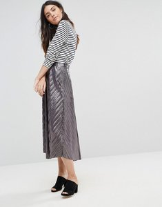 Read more about Liquorish pleated midi skirt - metallic