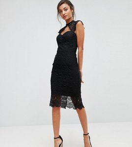 Read more about Chi chi london tall crochet lace midi pencil dress with scalloped back - black