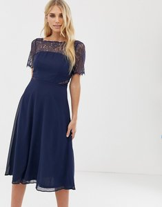 Read more about Asos lace insert panelled midi dress - navy