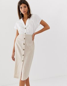 Read more about Asos design cotton and linen mix midi dress with buttons