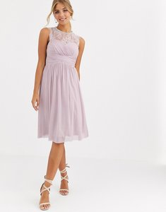 Read more about Lipsy ruched midi dress with lace yoke and embellished neck in lavender
