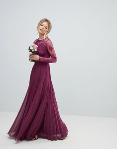 Read more about Asos wedding maxi dress with lace sleeves and eyelash lace - plum