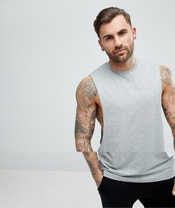 Read more about Asos longline vest with extreme dropped armhole in grey - grey marl