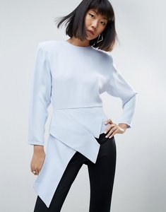 Read more about Asos white asymmetric top with shoulder pads - blue