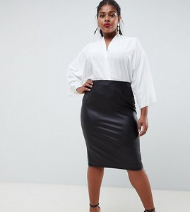 Read more about Asos curve leather look pencil skirt - black