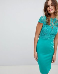 Read more about Club l high neck crochet cap sleeve pencil midi dress - green