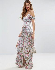 Read more about Asos rose floral cold shoulder satin maxi dress - multi