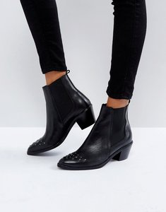 Read more about H by hudson stud toe leather boot - black leather