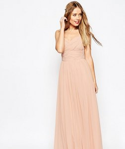 Read more about Asos tall wedding ruched panel maxi dress - nude