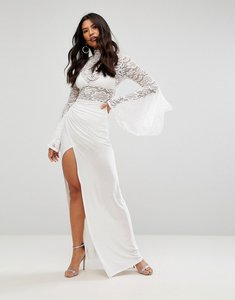 Read more about Club l lace flute sleeve high neck maxi dress with wrap front skirt - cream