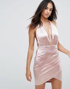 Read more about Ax paris pink satin halterneck dress with ruched detail - pink