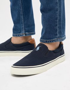Read more about Polo ralph lauren thompson 2 pique slip on plimsolls leather trims in navy - aviator navy
