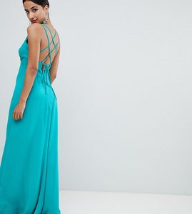 Read more about Flounce london plunge front maxi dress with strappy back - green