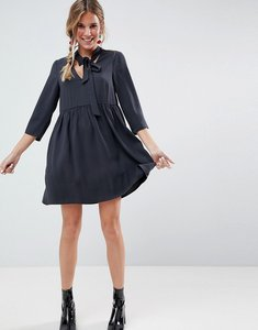 Read more about Asos v neck mini smock dress - dark grey