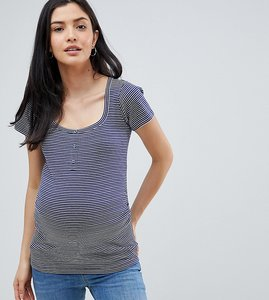 Read more about Asos design maternity top in stripe with button placket - multi
