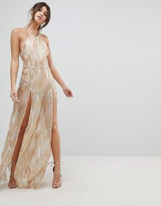 Read more about Naanaa sequin maxi dress with double thigh split - gold