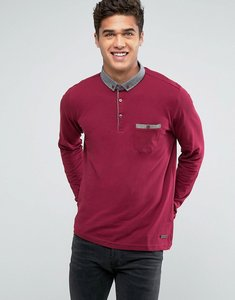 Read more about Brave soul long sleeve contrast collar polo shirt - red