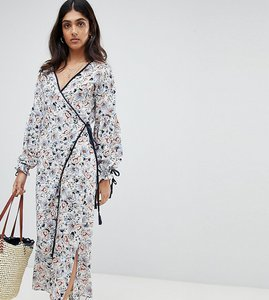 Read more about Glamorous tall midi wrap dress with side splits and tie waist in floral - white blue floral