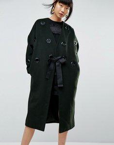 Read more about Asos white eyelet wool coat - dark green