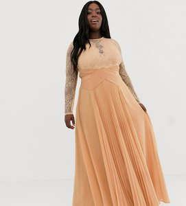 119a86fa681e6 Read more about Asos design curve long sleeve lace panelled pleat maxi dress