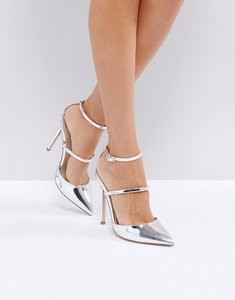Read more about Asos picture perfect pointed high heels - silver