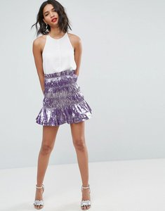 Read more about Asos metallic shirred mini skirt - lilac