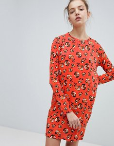 Read more about Daisy street long sleeve dress in floral print - red
