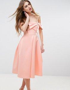 Read more about Asos fold detail bardot scuba prom dress - nude
