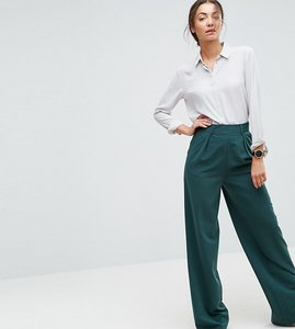 Read more about Asos tall the wide leg trouser with pleat front - forest green
