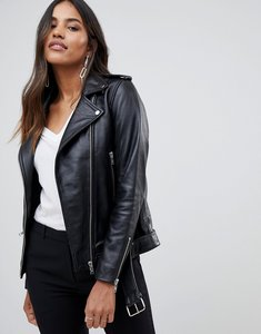 Read more about Y a s leather jacket with zip detail - black