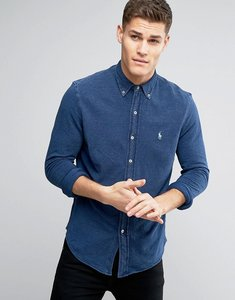 Read more about Polo ralph lauren slim pique shirt buttondown in indigo blue - medium indigo